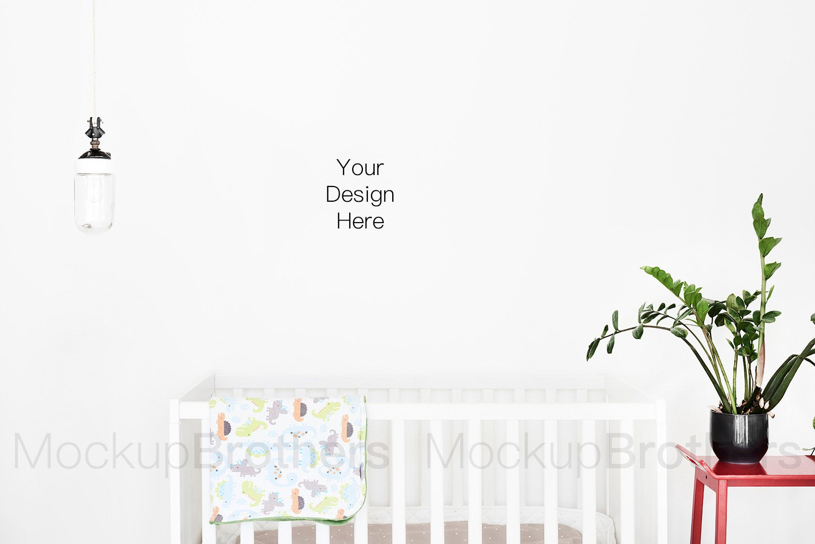 Blank wall nursery room by mockup Brothers
