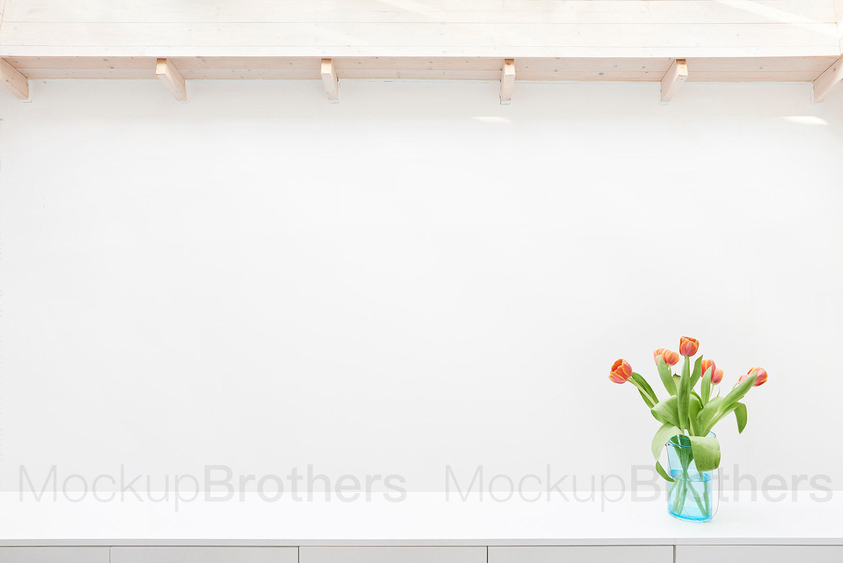 Wall mockup for large paintings with tulips by MockupBrothers