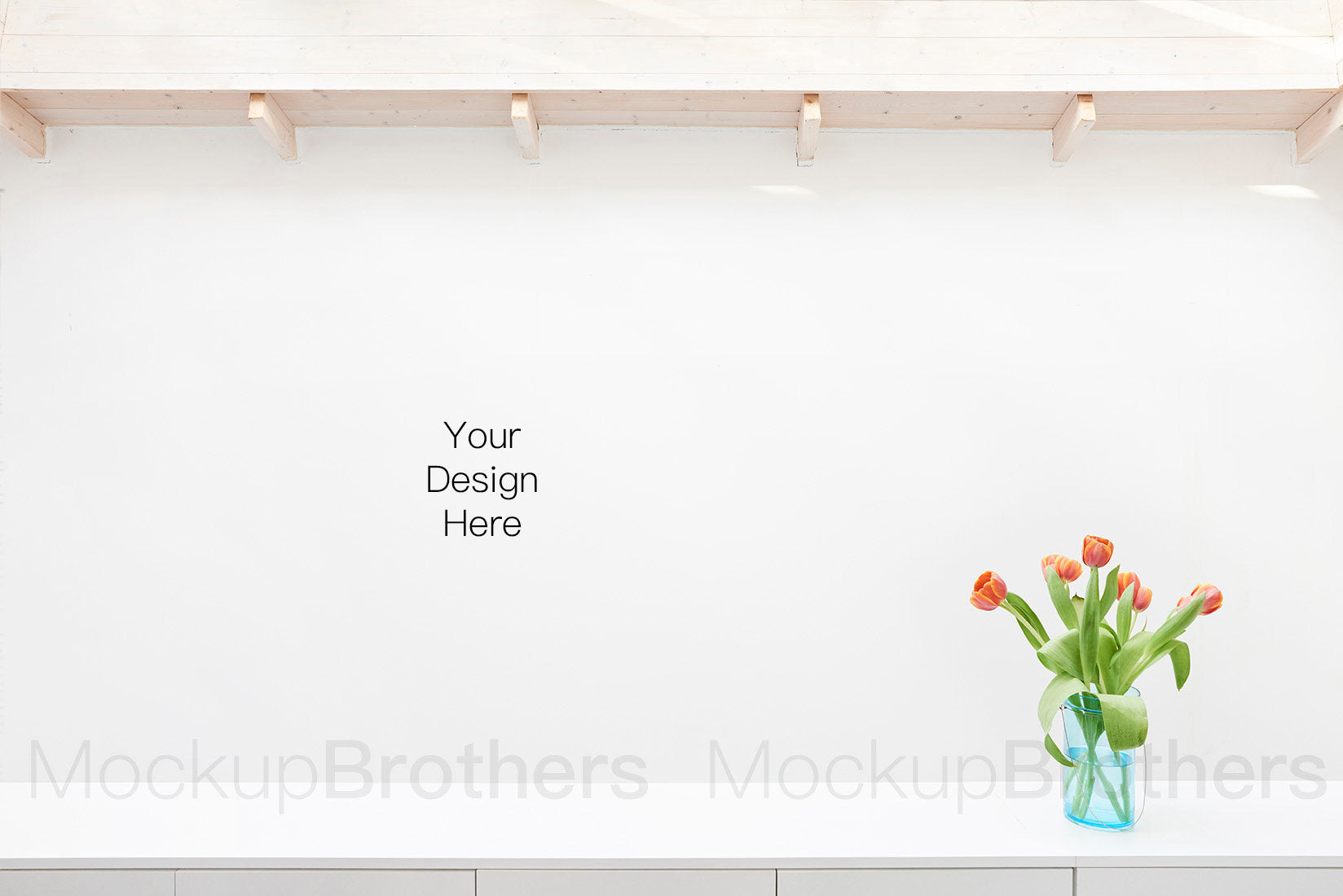 Modern interior stock photo with blank wall and tulip