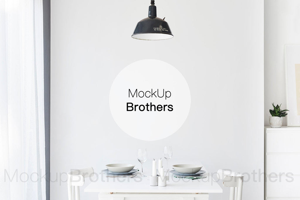 Dining room interior mockup by Mockup Brothers