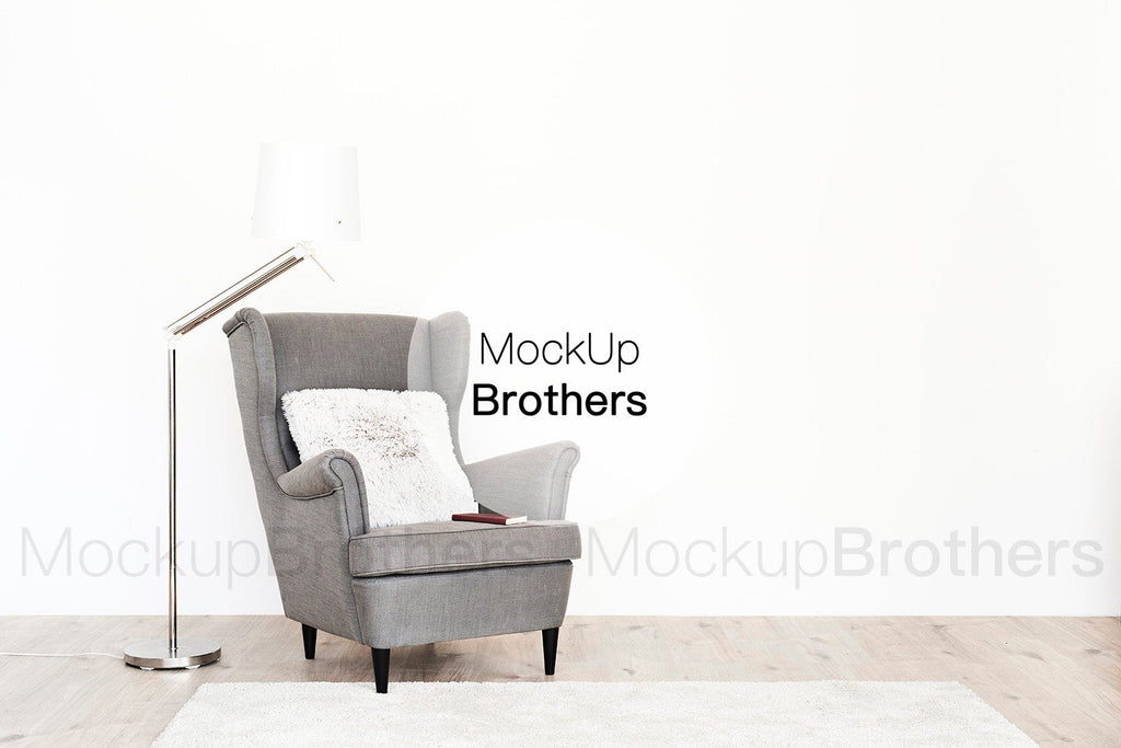 Interior mockup with sofa by Mockup Brothers