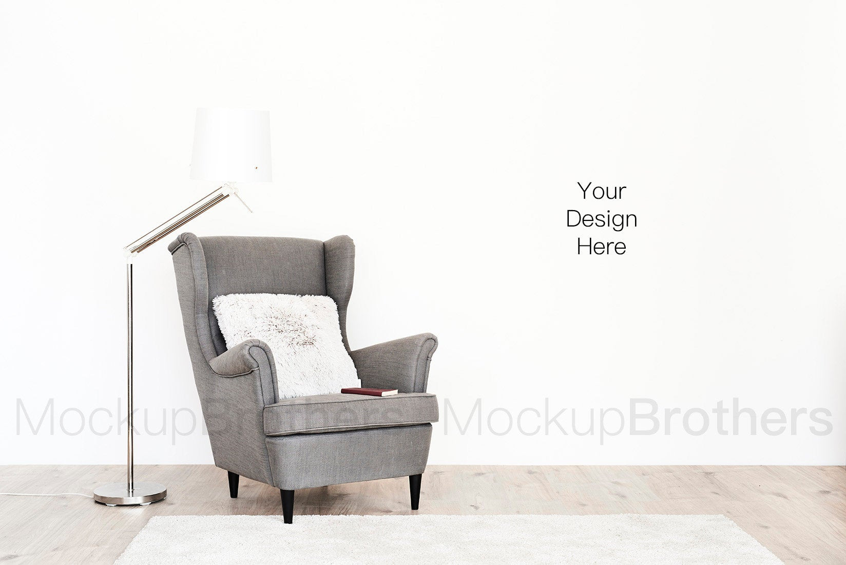 Room mock up with blank wall for posters by mockup Brothers