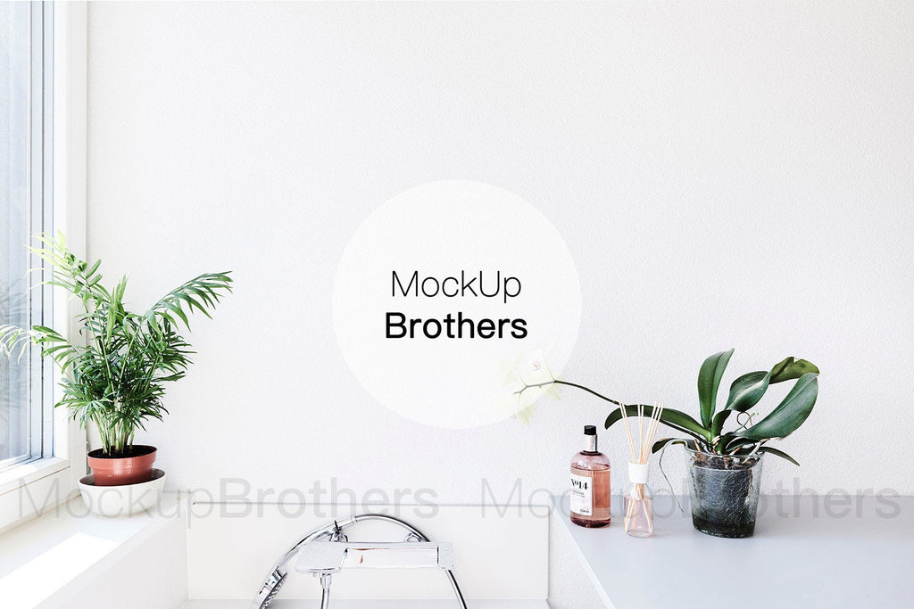 Bathroom wall art mockup by Mockup Brothers