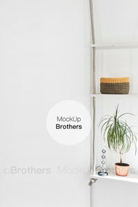 Blank white wall mockup for posters by Mock Up Brothers