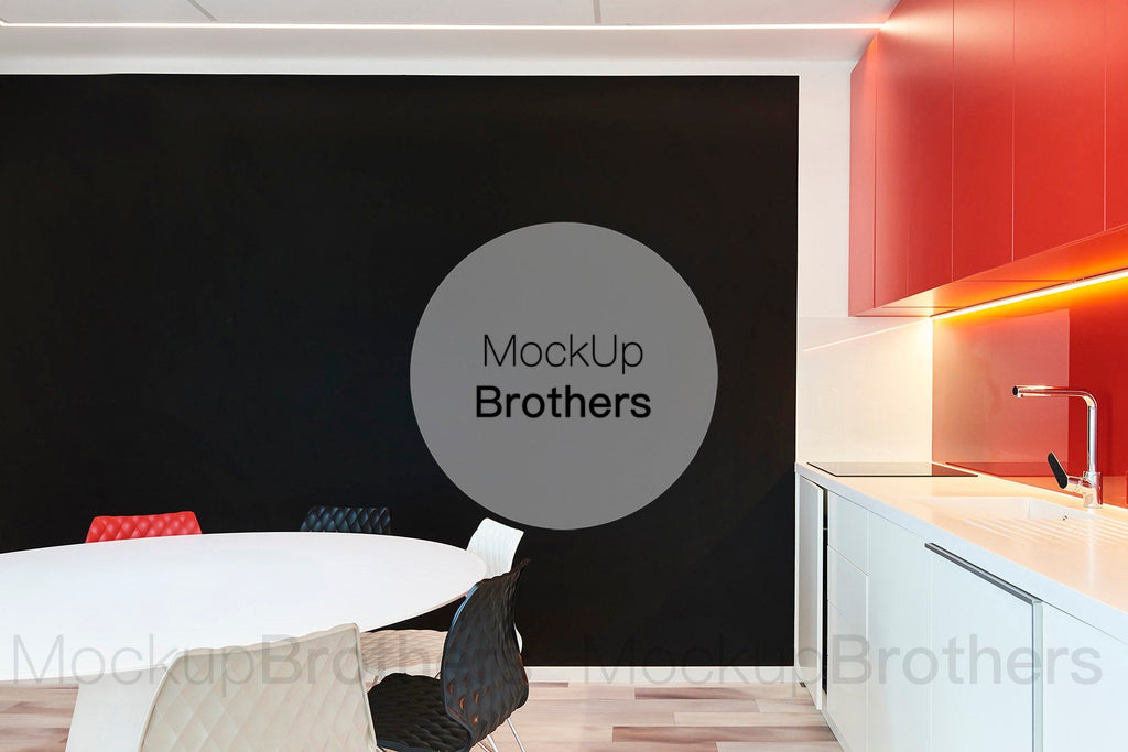Black wall kitchen mockup by Mockup Brothers