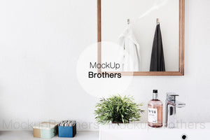 Bathroom mockup with mirror by mockup Brothers