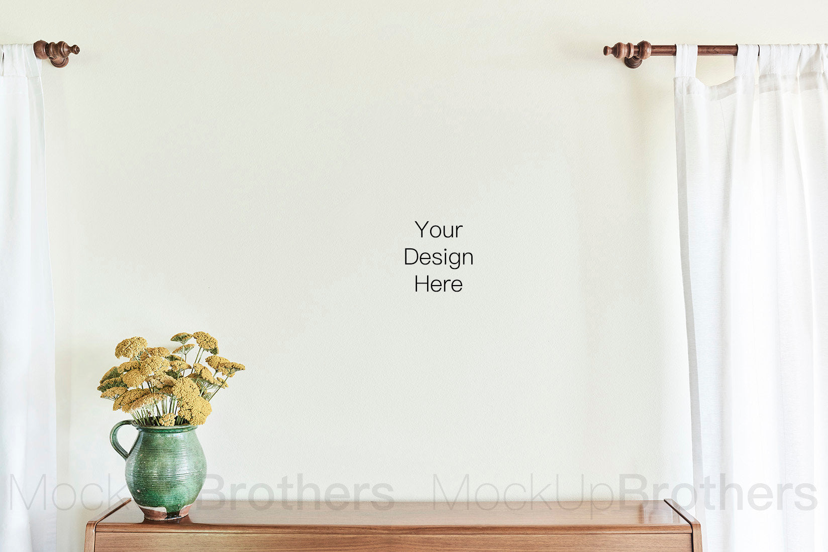 Wall art mockup with yellow flower
