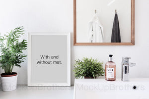 White frame mockup in bathroom 5x7 inch