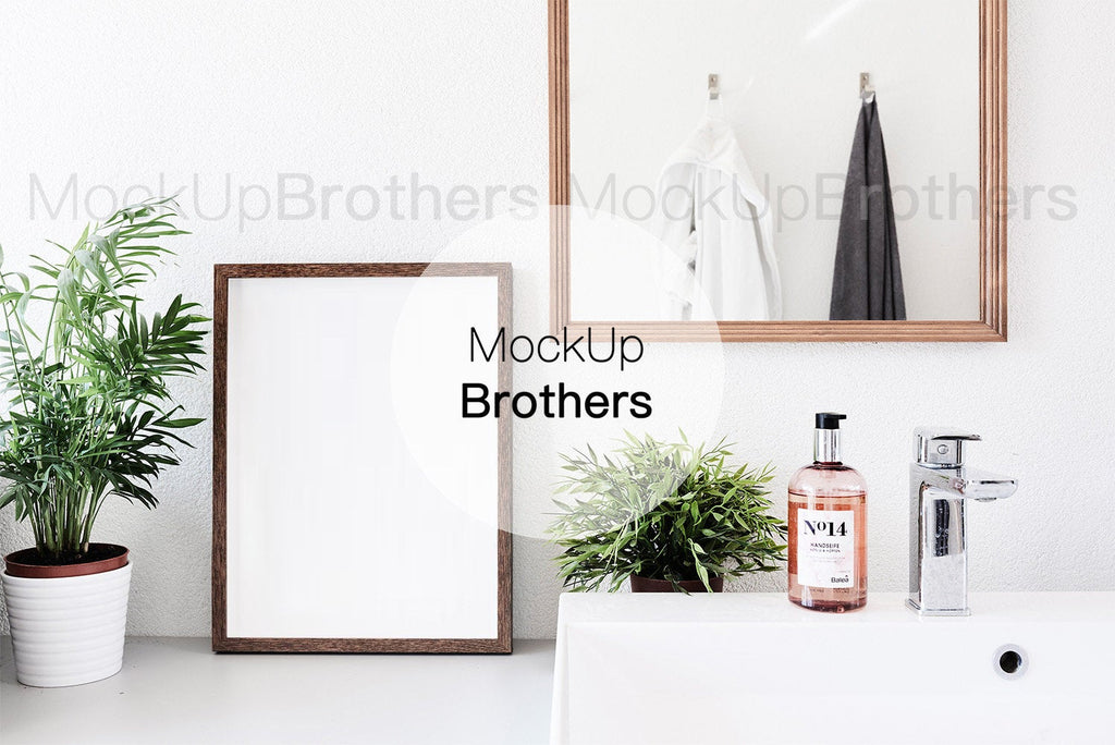 Bathroom mockup with frame by Mockup Brothers