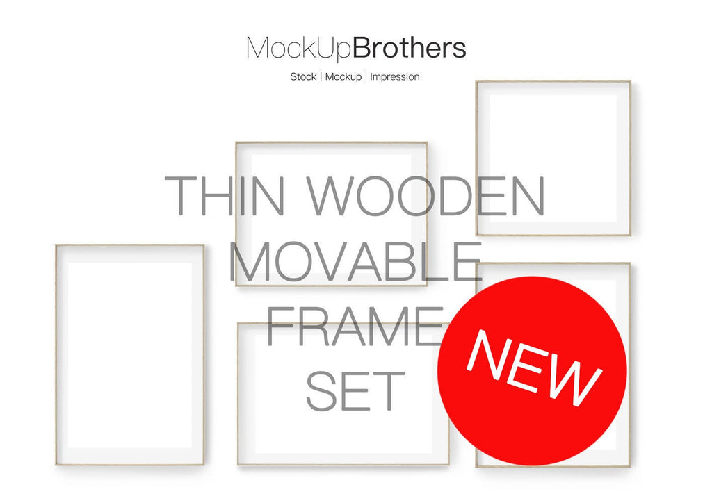 Movable Frame Set Mockup thin brightwood