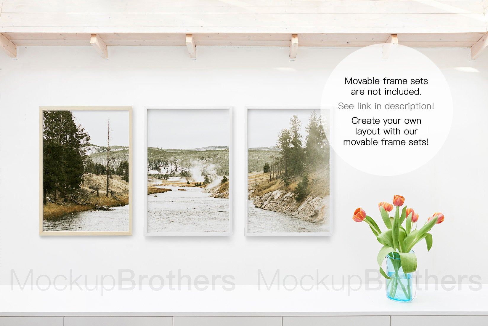 Frame mockup with flowers by mockup Brother