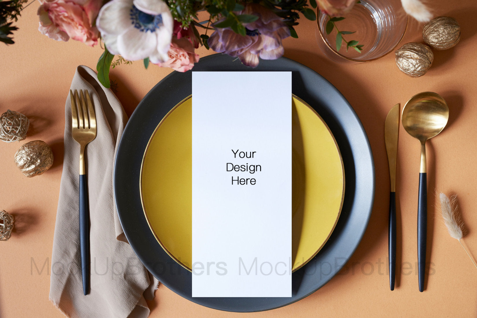 Wedding menu card mockup W05_09