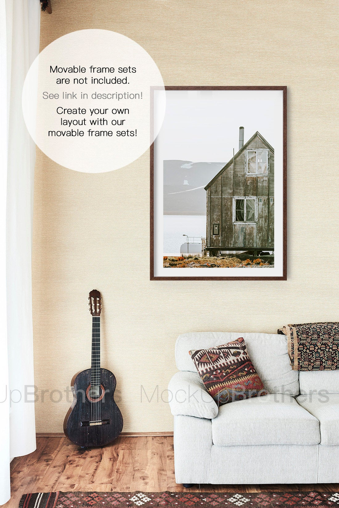 Rustic living room mockup with blank wall and frame