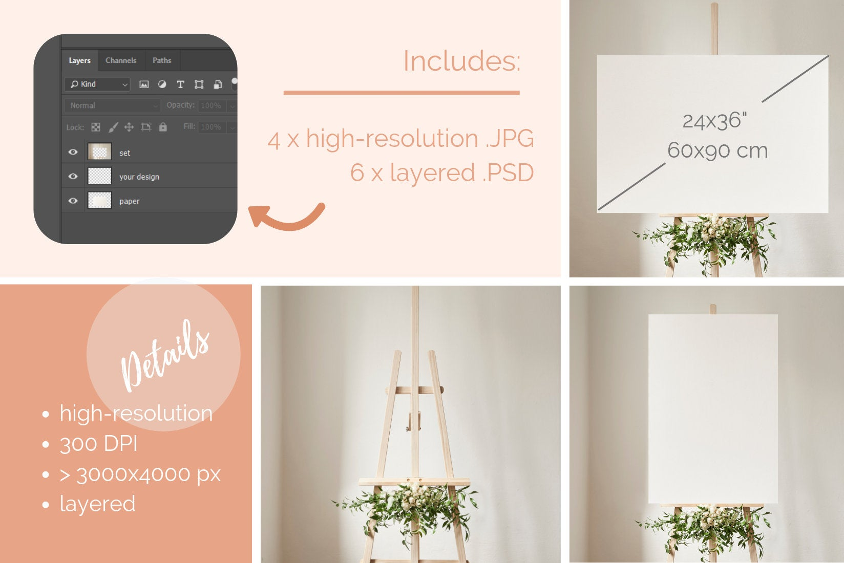 Wedding easel mockups W_whiterose