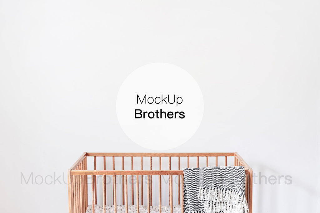 Nursery room mockup with crib by Mockup Brothers