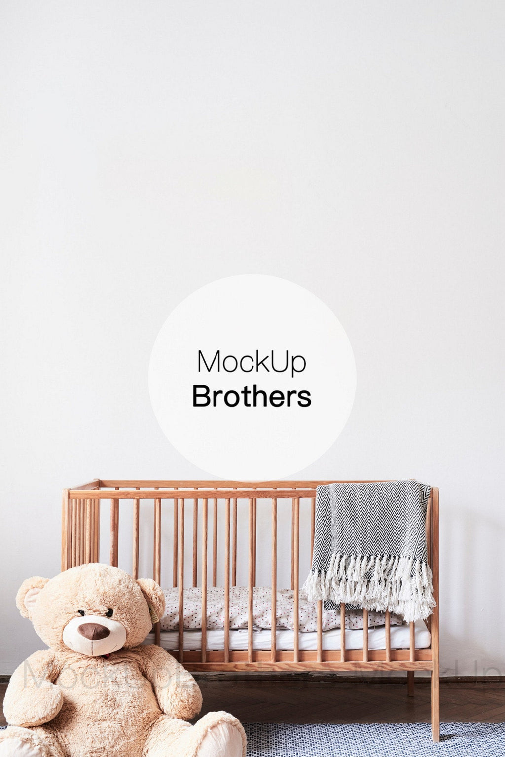 Cute nursery room mockup with teddy bear by mockupbrothers