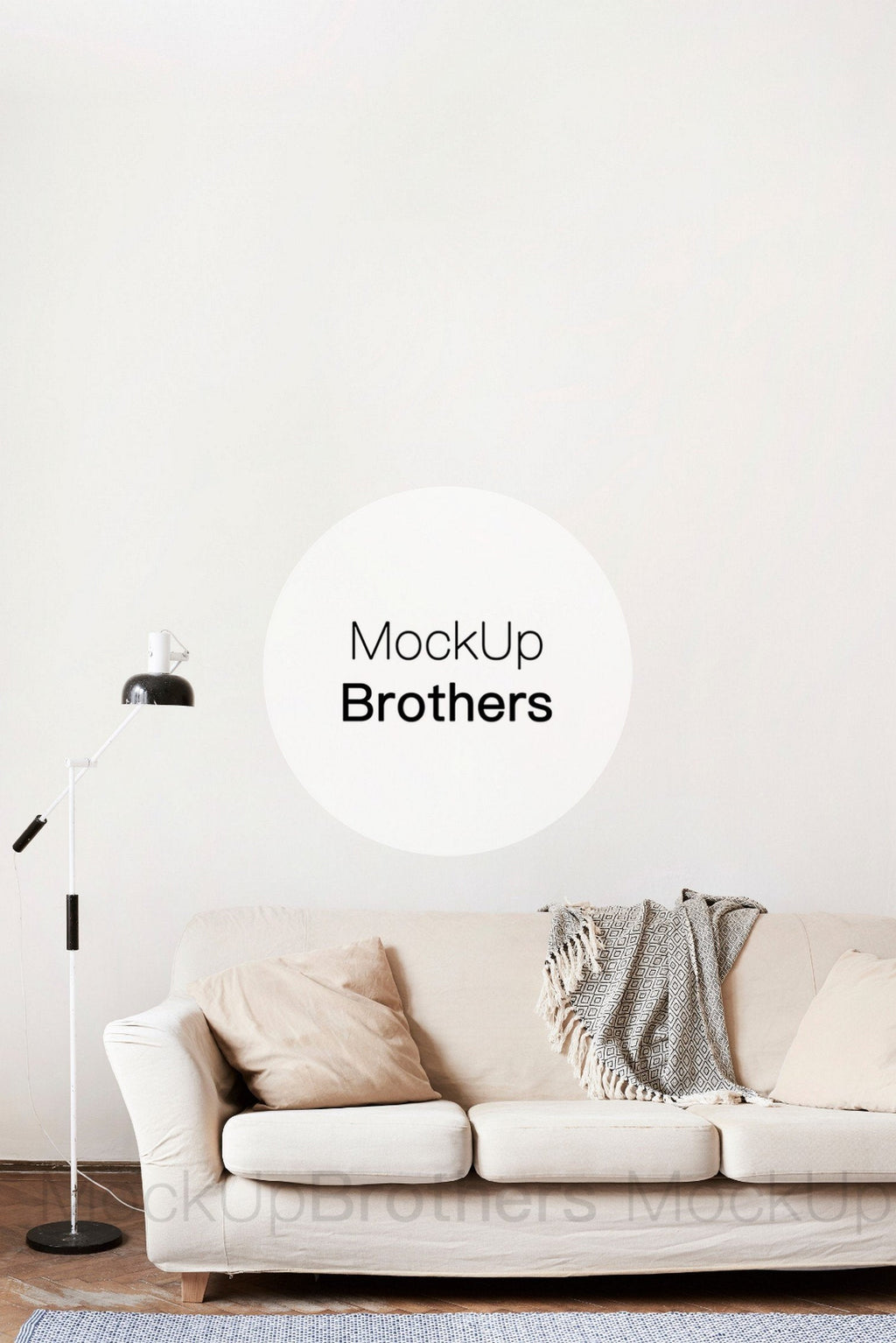 Empty wall mockup in living room interior by Mockup Brothers