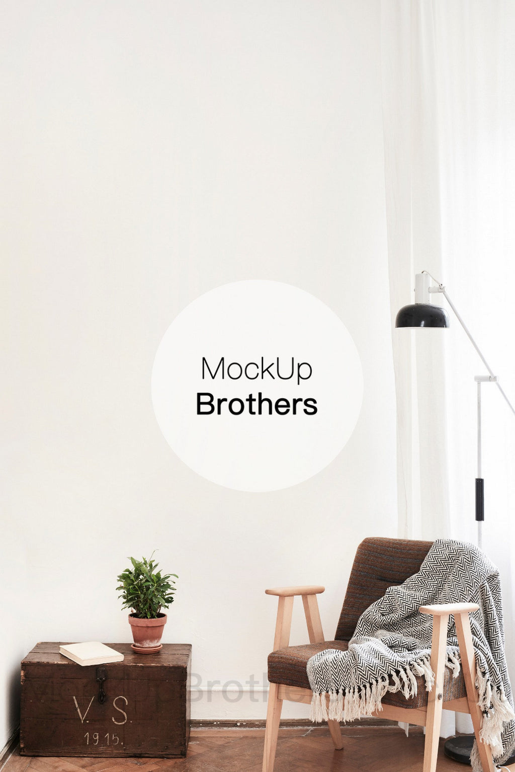 Interior mock up with blank wall from Mockup Brothers