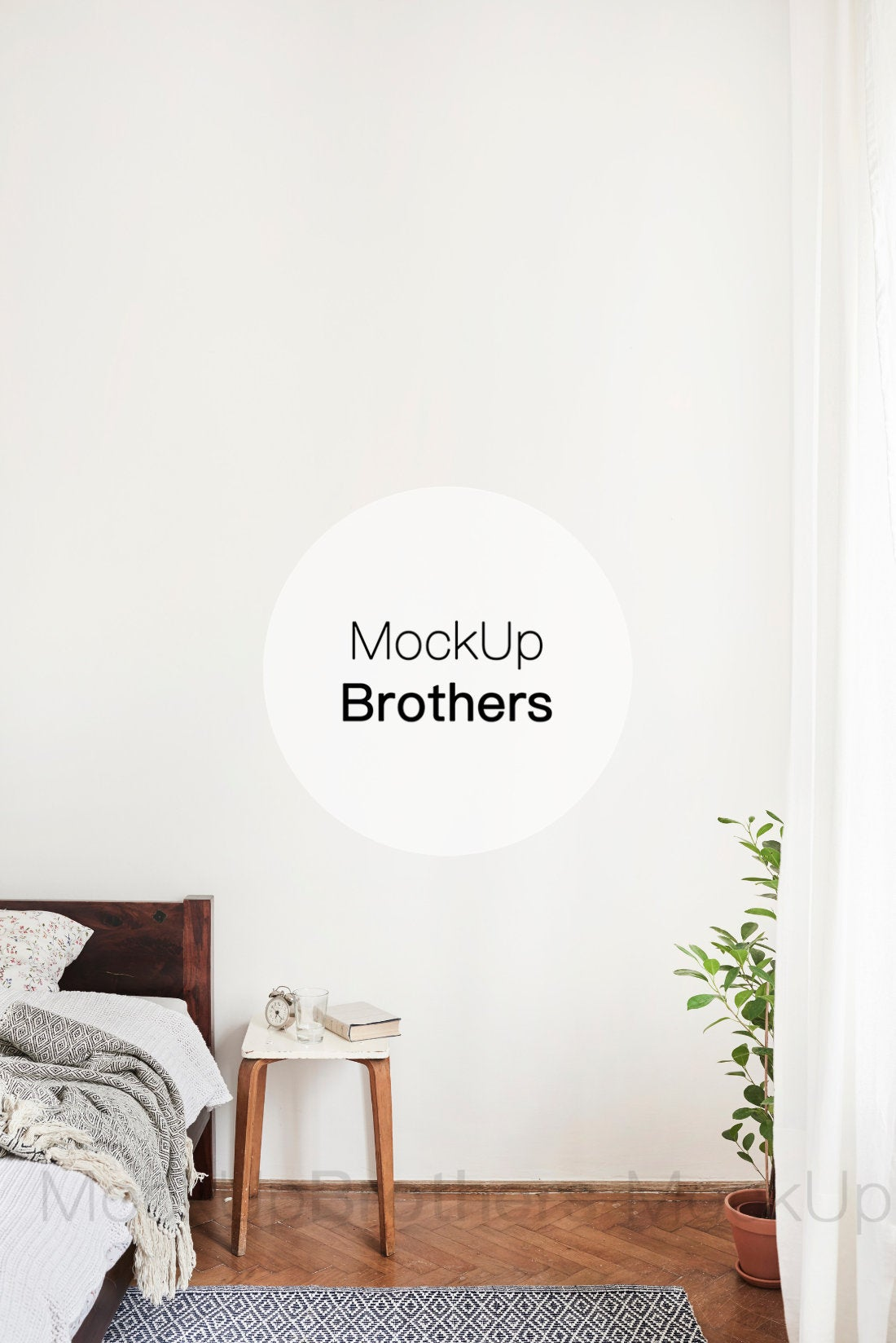 Vertical bedroom interior mockup by Mockup Brothers
