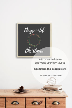Christmas wall decoration mockup
