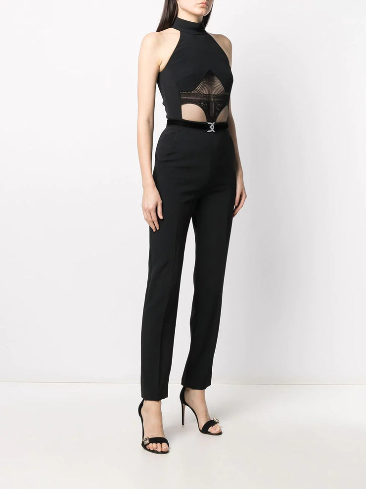 Embroidered Mesh Panelled Jumpsuit