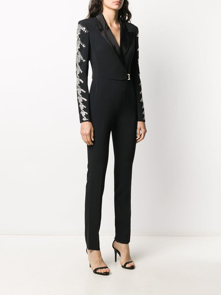 Embroidered long sleeve jumpsuit