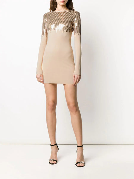 Sequin embroidered long sleeve mini knit dress