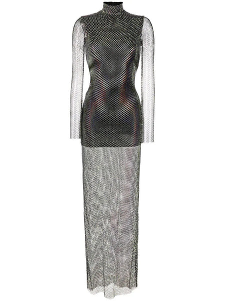 Crystal mesh long sleeve gown