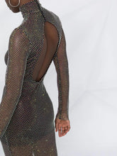 Load image into Gallery viewer, Crystal mesh long sleeve gown