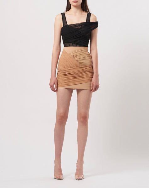 Draped mini skirt