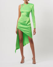 Load image into Gallery viewer, Asymmetric satin dress