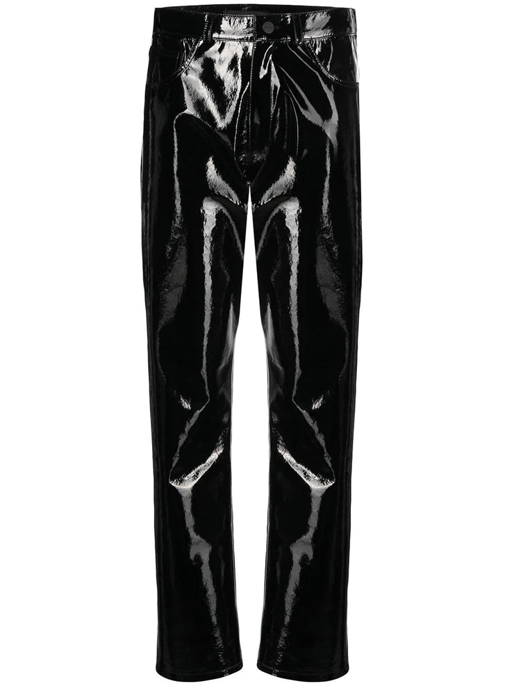 Patent leather trousers