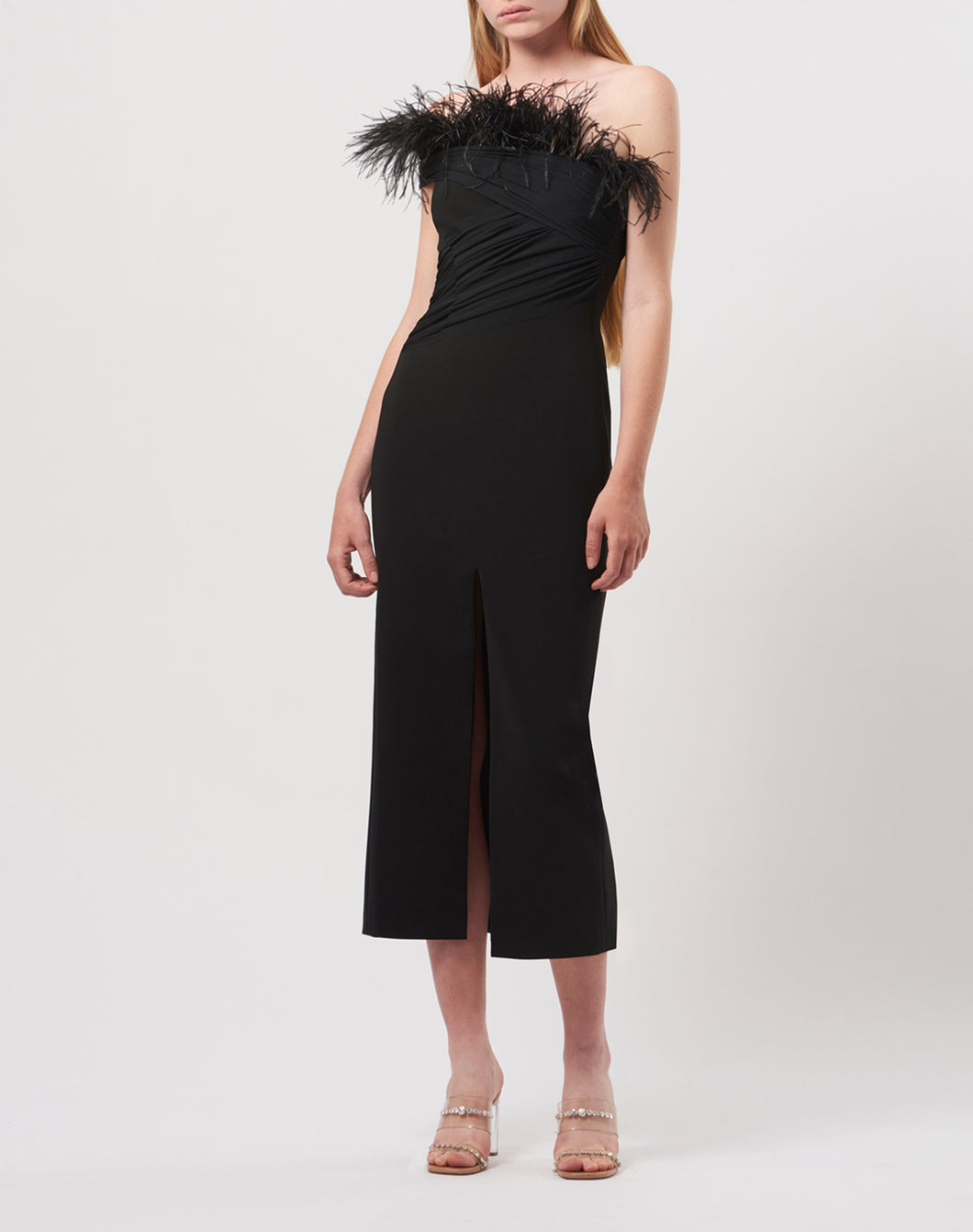 Feather and net midi dress