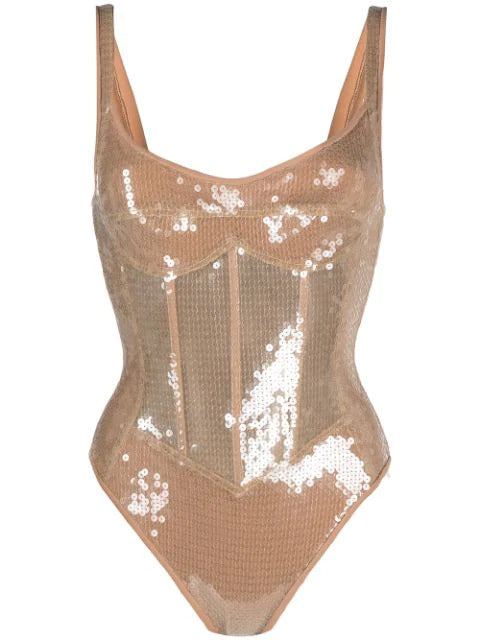Corset and sequin bodysuit