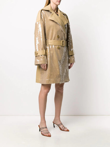 Sequin panelled trench coat