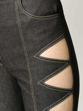 Load image into Gallery viewer, Cut out denim leggings