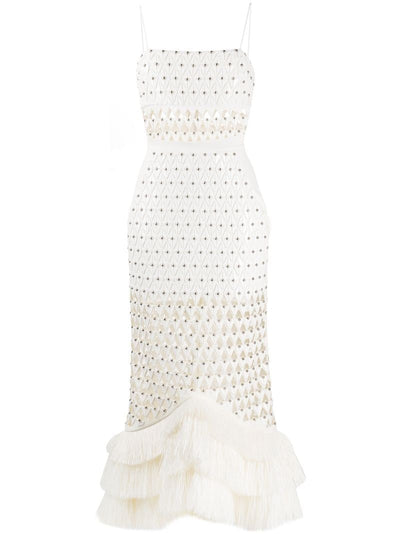 Strapless embroidery and raffia midi dress