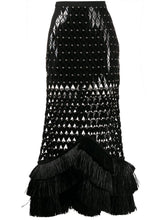 Load image into Gallery viewer, Plexi and raffia embroidered midi skirt