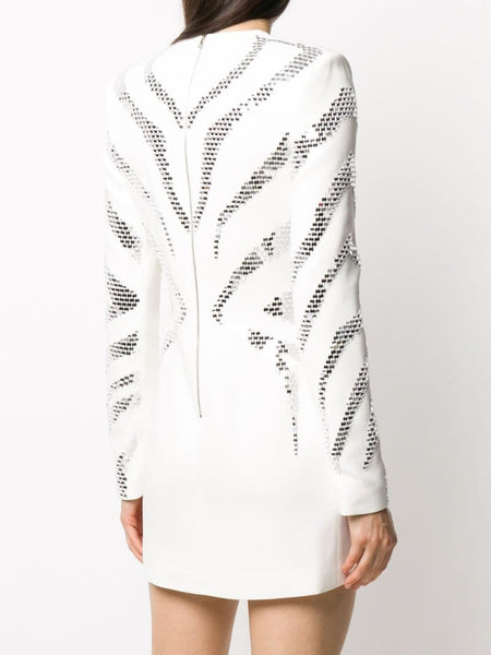 All over plexi embroidered mini dress