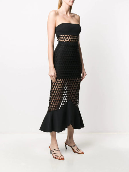 Macramé strapless midi dress
