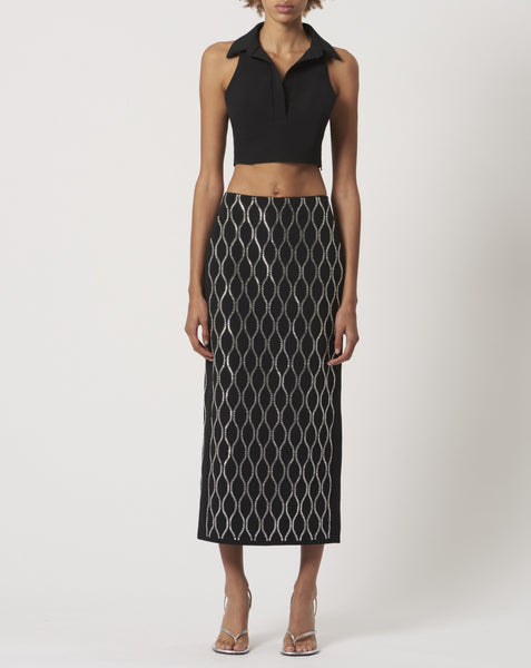 Geometric Crystal Embroidered Midi Skirt
