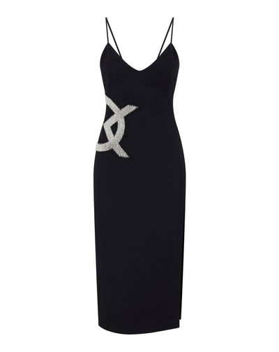 Crystal Embroidered DK Logo Midi Dress