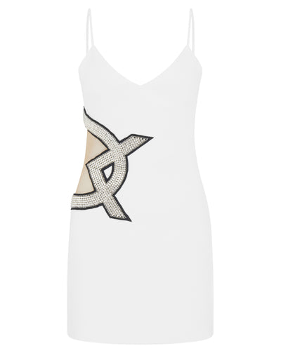 Crystal Embroidered DK Logo Mini Dress