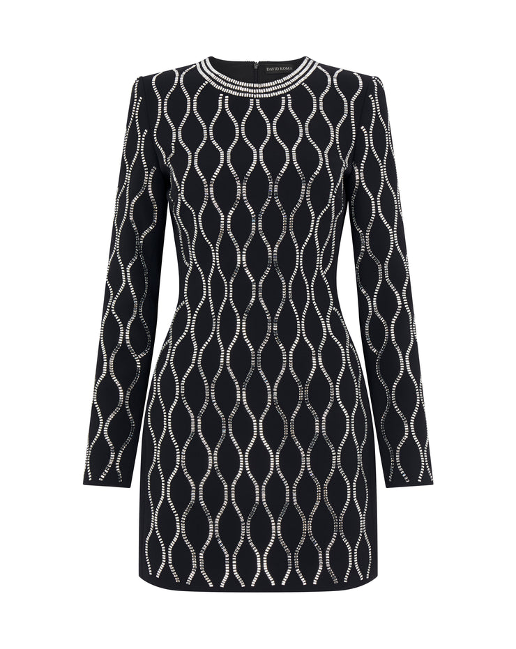 Geometric Crystal Embroidered Long Sleeve Mini Dress