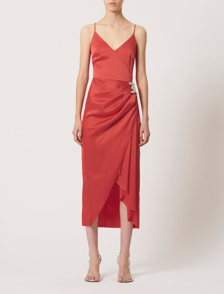 Crystal Embroidered DK Logo Satin Midi Dress