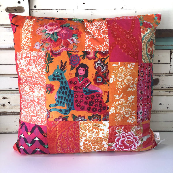 Tangerine Patchwork Square Cushion