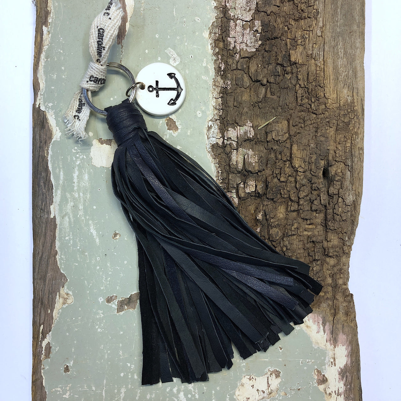 Tassel Keyring - Black Leather Anchor