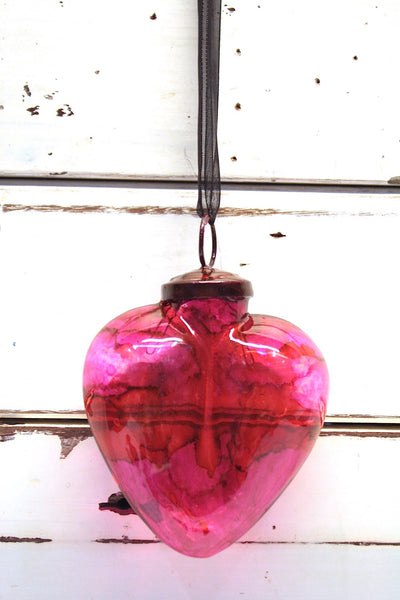 Glass Heart - Sml Clear Red