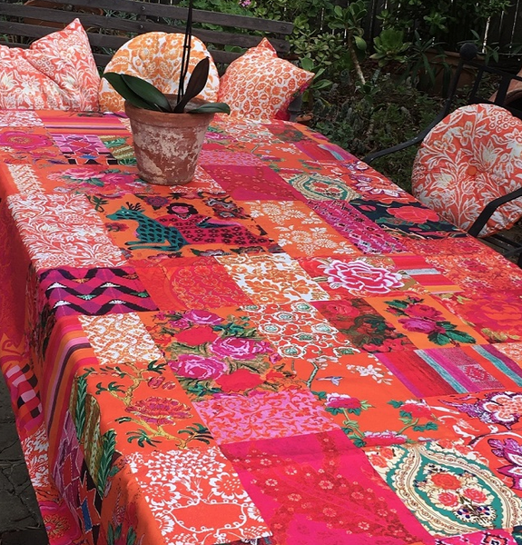 Anna Chandler Tablecloth - Tangerine Patchwork