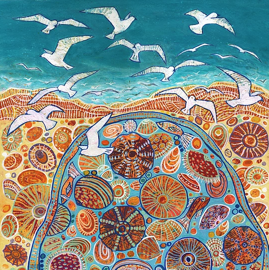 Soaring Seagulls Square Print - Janeen Horne